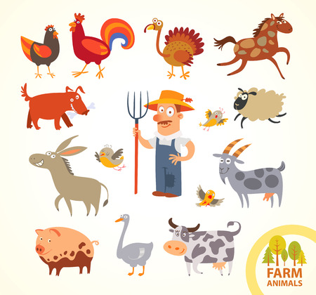 Set funny farm little animals.