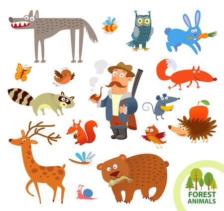 面白い設定森の小動物。  イラスト・ベクター素材