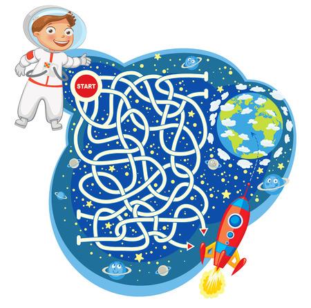 Hilf dem Astronauten das Raumschiff zu erreichen und gehen Sie zum Planeten Erde.