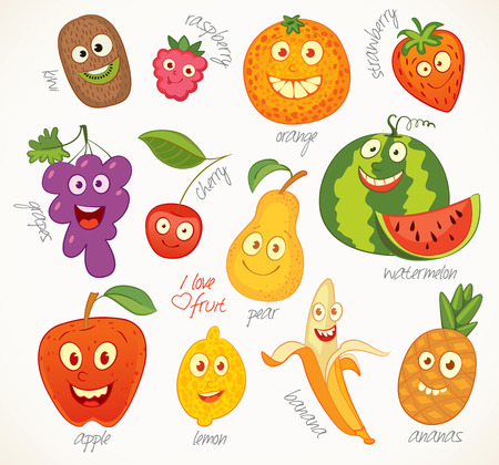 fruit illustration: Funny cartoon character.