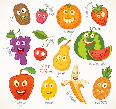 children eating fruit: Funny cartoon character.