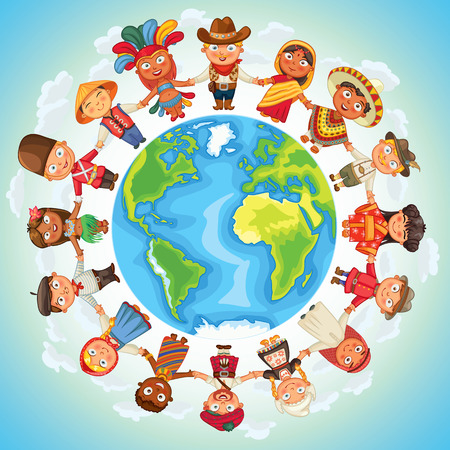 regions: Multicultural character on planet earth cultural diversity traditional folk costumes Illustration