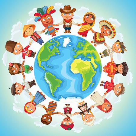 multicultureel: Multiculturele karakter op de planeet aarde culturele diversiteit traditionele klederdrachten Stock Illustratie