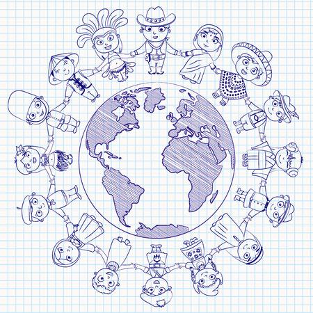 happy planet earth: Car�cter multicultural en el planeta Tierra de diversidad cultural de los trajes folcl�ricos tradicionales. Vectores