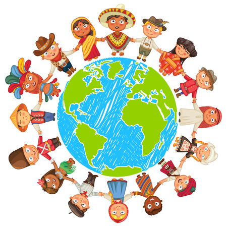 cute girl cartoon: Nationalities Different culture standing together holding hands. Illustration