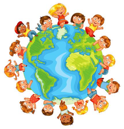 Den Země roztomilé malé děti. Ilustrace