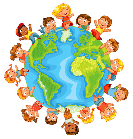 Earth Day Cute little kids.  Vector