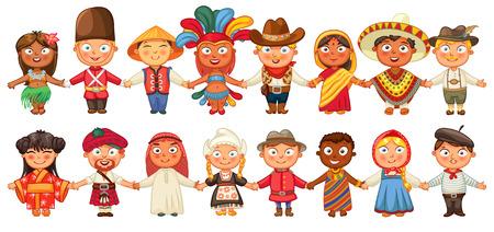 ni�os de diferentes razas: Cultura diferente de pie juntos tomados de la mano. Vectores
