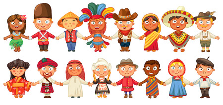 costumes: Different culture standing together holding hands.