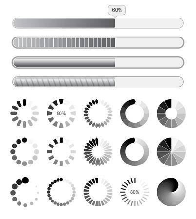 Collection black-white preloaders.
