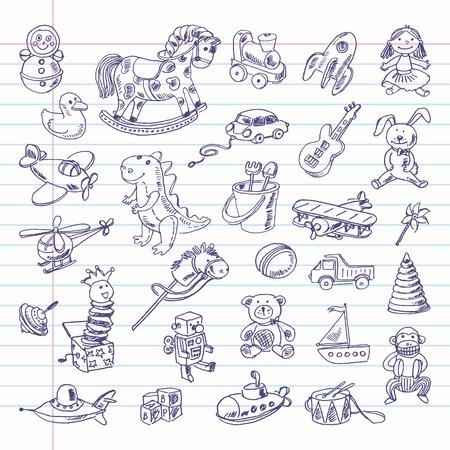 locomotora: Dibujo a mano alzada elementos retro juguetes en una hoja de cuaderno. Vectores