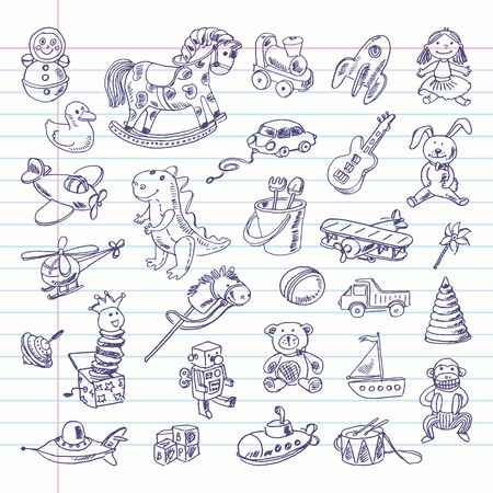 Freehand drawing retro toys items on a sheet of exercise book. Vector
