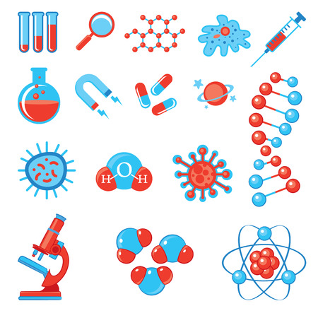bacteria cell: Trendy science icons.