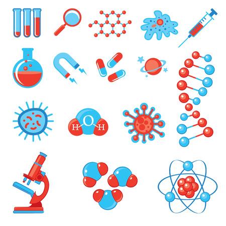 virus bacteria: Trendy science icons.