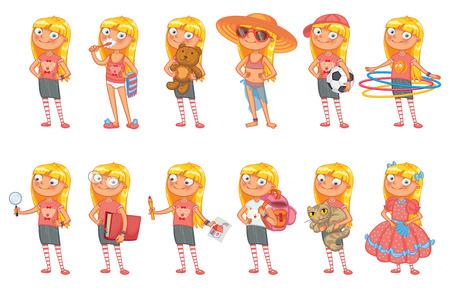 maillot de bain: Baby girl se trouve dans pose similaire et est titulaire d'un divers objets.