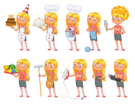 animation teenagers: Baby girl stands in same pose and holds a various objects.