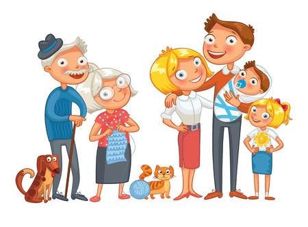 perro familia: Historieta divertida.