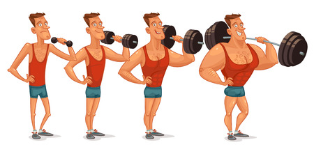 exercise cartoon: Muscle building from a weakling to a steep pitching.