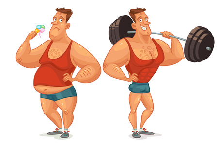 overweight:  Fat man eating ice cream Comparative analysis of lifestyle.