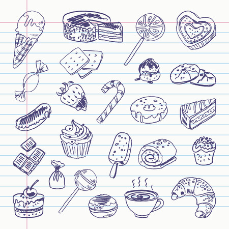 exercise book: Freehand drawing sweetness items on a sheet of exercise book.  Illustration