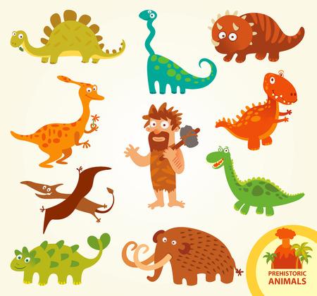 dinosaurio caricatura: Establecer animales prehist�ricos divertidos.