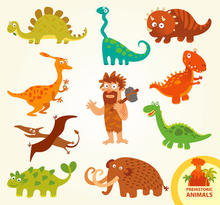 dinosaurio caricatura: Establecer animales prehistóricos divertidos.