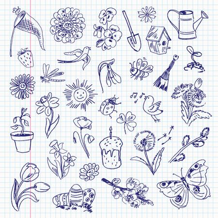 primavera: Art�culos de primavera de dibujo a mano alzada en una hoja de cuaderno.