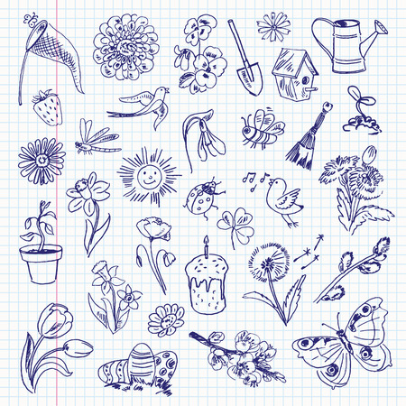 Freehand drawing spring items on a sheet of exercise book.  Vector