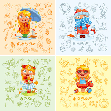 Baby girl and the four seasons. Illustration