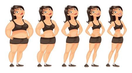 지방에서 슬림 젊은 여자의 체중 감소의 단계.
