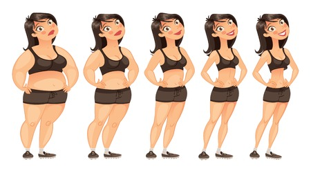 Stages of weight loss of a young woman from fat to slim.  Illustration