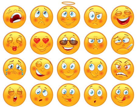 smiley face cartoon: Vector set of glossy characters Illustration