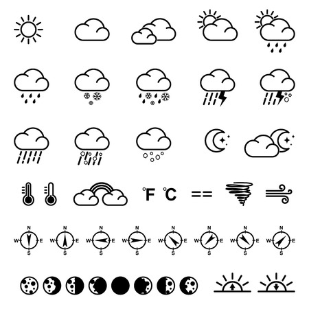 wintry weather: Weather icons illustration.