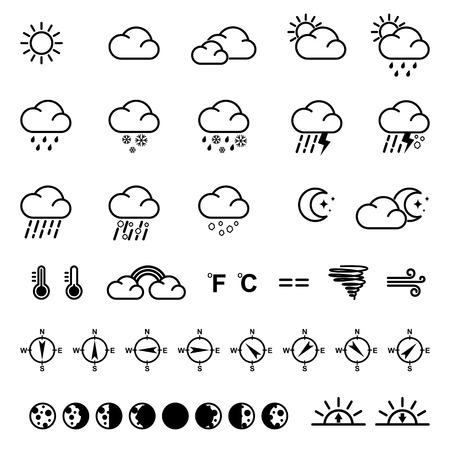 Weer pictogrammen illustratie.