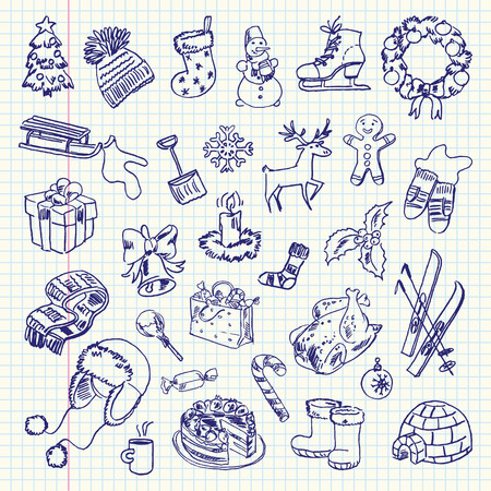 exercise book: Freehand drawing Winter holiday items on a sheet of exercise book.