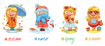 four season: Baby girl and the four seasons.