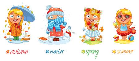 enfant maillot de bain: Baby girl et les quatre saisons.