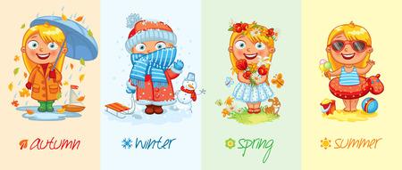 scarf beach: Baby girl and the four seasons.