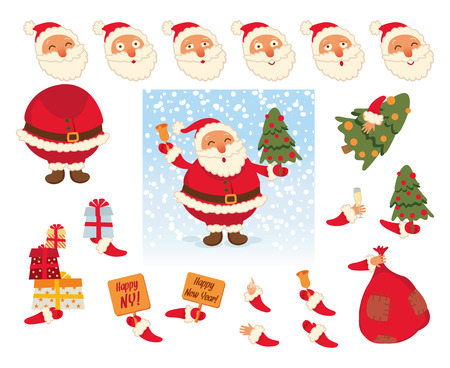 Santa Claus and Parts of body template for design work and animation. Çizim