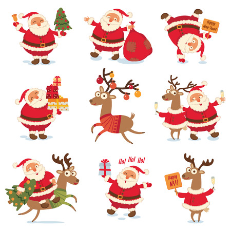 cartoon dance: Santa Claus and Christmas reindeer.