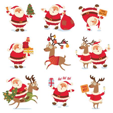 reno: Santa Claus y los renos de Navidad.