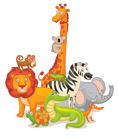 Wild Animals, posing together. Vector