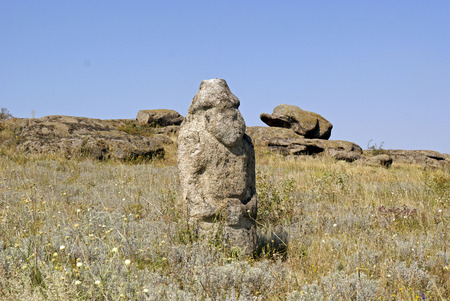 steppe: Stone idol in the steppe. National Park  Stone Tombs . Donetsk. Ukraine Stock Photo