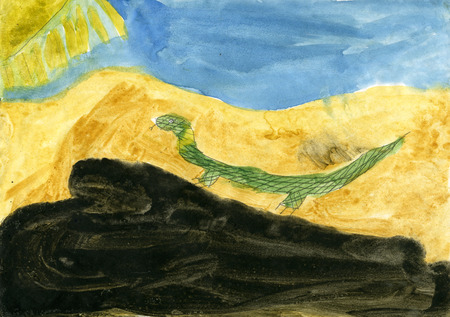 palitra: Childrens drawings Lizard Stock Photo