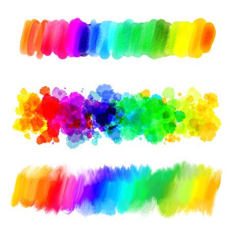 arcoiris: gradiente de arco iris. La pintura abstracta de aceite. blot colores en blanco. mancha borrosa. Gota. Dibujo a mano alzada. Ilustración conceptual. Aislado en el fondo blanco Foto de archivo