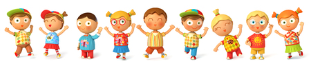 3d puppet: Children jump for joy. Banner. Isolated on white background. 3d render Stock Photo