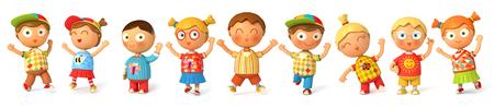 niño saltando: Los niños saltan de alegría. Bandera. Aislado en el fondo blanco. 3d