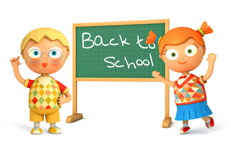 baby toy: Cute girl and boy standing at school board. Blackboard with the words Back to School. Isolated on white background. 3d render