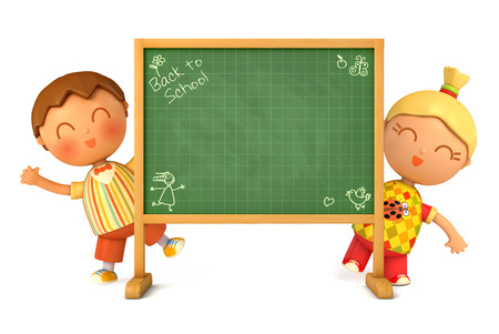 message board: Cute girl and boy standing at school board. Blackboard ready for your message. Back to School. Isolated on white background. 3d render