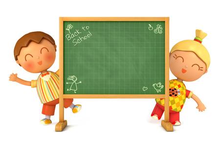 Cute girl et garçon debout au conseil scolaire. Blackboard prêt pour votre message. Retour à l'école. Isolé sur fond blanc. 3d render Banque d'images - 50122841